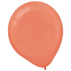 12 IN. PEARLIZED LATEX BALLOONS 15/PKG - ROSEGOLD