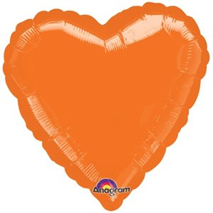 18'' HEART METALLIC ORANGE