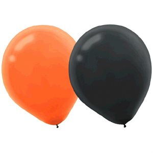 BALLONS 12 PO. ORANGE ET NOIR 15/PQT