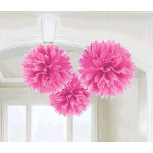FLUFFY PAPER DECORATIONS 3/PKG