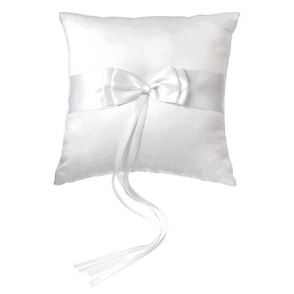 SQUARE RING PILLOW - WHITE WITH WHITE BOW & GEM