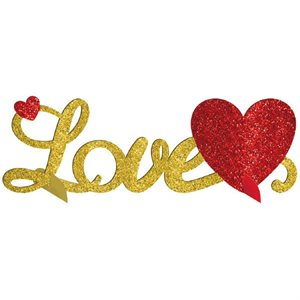LOVE GLITTER 3-D TABLE CENTERPIECE