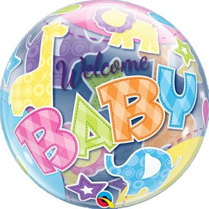 MYLAR BULLE WELCOME BABY ANIMAUX 22 PO.