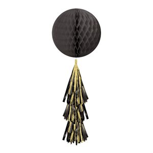 HONEYCOMB BALL WITH TAIL - BLACK