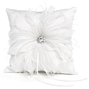 WHITE RING PILLOW WITH FEATHER