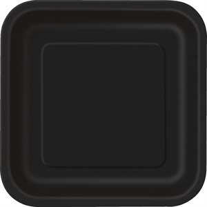 BLACK SOLID SQUARE 9'' DINNER PLATES 14CT