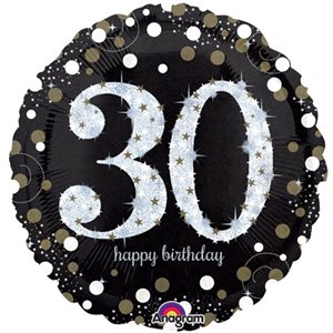 MYLAR 18 PO. - 30 HAPPY BIRTHDAY ÉTINCELANT