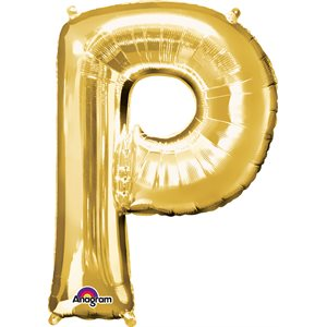 """LETTER P GOLD 34"""" PACKAGED"""