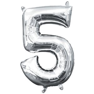 BALLOON AIR-FILLED NUMBER ''5''- SILVER