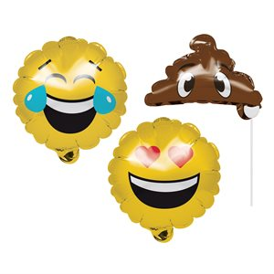 BALLOON PHOTO PROPS EMOJIONS 3/PKG