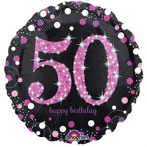 MYLAR 50 HAPPY BIRTHDAY ROSE ÉTINCELANT 18 PO.