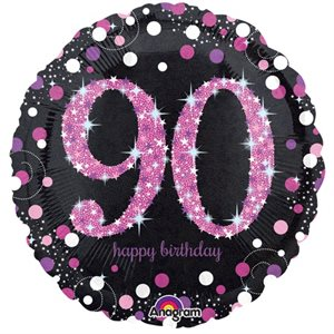 MYLAR 90 HAPPY BIRTHDAY ROSE ÉTINCELANT 18 PO.