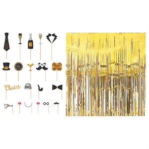 NEW YEAR'S DELUXE PHOTO PROPS PARTY KIT 21
