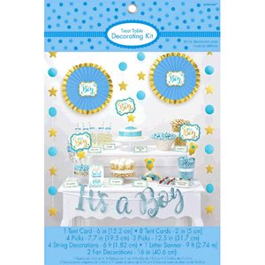 IT'S A BOY - ENSEMBLE DE DÉCORATION POUR BUFFET 23/PQT