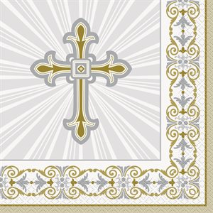 GOLD & SILVER RADIANT CROSS LUNCHEON NAPKINS 16CT