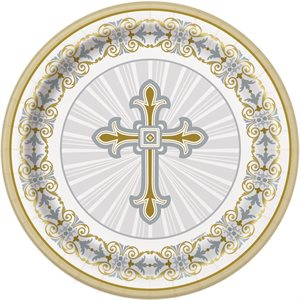GOLD & SILVER RADIANT CROSS ROUND 7'' DESSERT PLATES 8CT