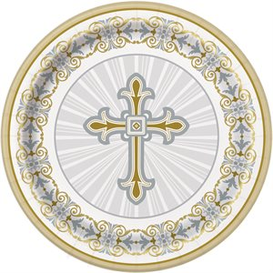 GOLD & SILVER RADIANT CROSS ROUND 9'' DINNER PLATES 8CT