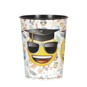 VERRE 16 OZ. EN PLASTIQUE EMOTICONE GRADUATION