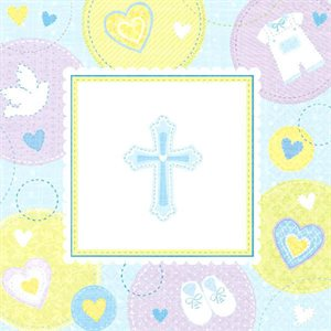 SWEET CHRISTENING BLUE BEVERAGE NAPKINS 16/PKG