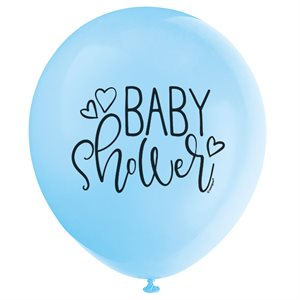 BALLONS LATEX 12 PO. 8/PQT - BABY SHOWER BLEU
