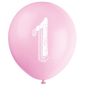 BALLONS LATEX 12 PO. 6/PQT - #1 ROSE