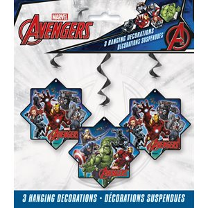 AVENGERS - HANGING SWIRL DECORATIONS 26'' 3CT