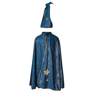 STARRY NIGHT WIZARD CAPE & HAT - SIZE 7-8