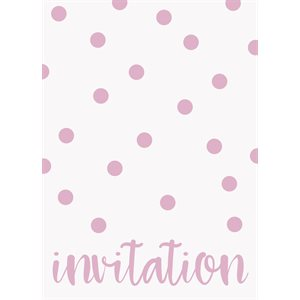 CARTES D'INVITATION À POIS 8/PQT - ROSE