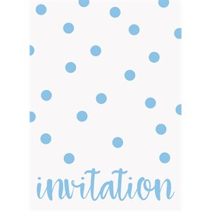 CARTES D'INVITATION À POIS 8/PQT - BLEU