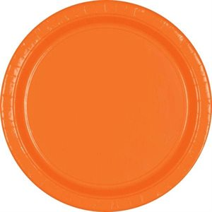 ASSIETTES 9 PO. EN CARTON 20/PQT - ORANGE