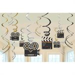 HOLLYWOOD PARTY HANGING SWIRL DECORATIONS 12/PKG