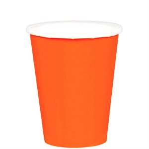 VERRES 9 OZ. EN CARTON 20/PQT - ORANGE