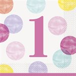 PINK DOTS 1ST BIRTHDAY LUNCHEON NAPKINS 16CT