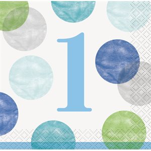 BLUE DOTS 1ST BIRTHDAY BEVERAGE NAPKINS 16CT
