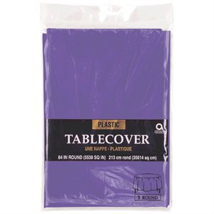 ROUND PLASTIC TABLE COVER 84''