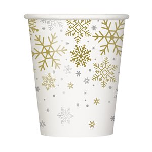 SILVER & GOLD HOLIDAY SNOWFLAKES 9OZ PAPER CUPS 8CT