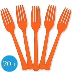 FOURCHETTES DE PLASTIQUE 20/PQT - ORANGE