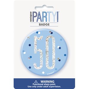 BLUE & SILVER BIRTHDAY BADGE 50