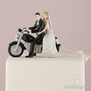 Figurine couple marié en moto