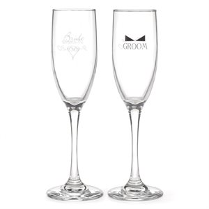 HEART AND BOW TIE - BRIDE AND GROOM FLUTES