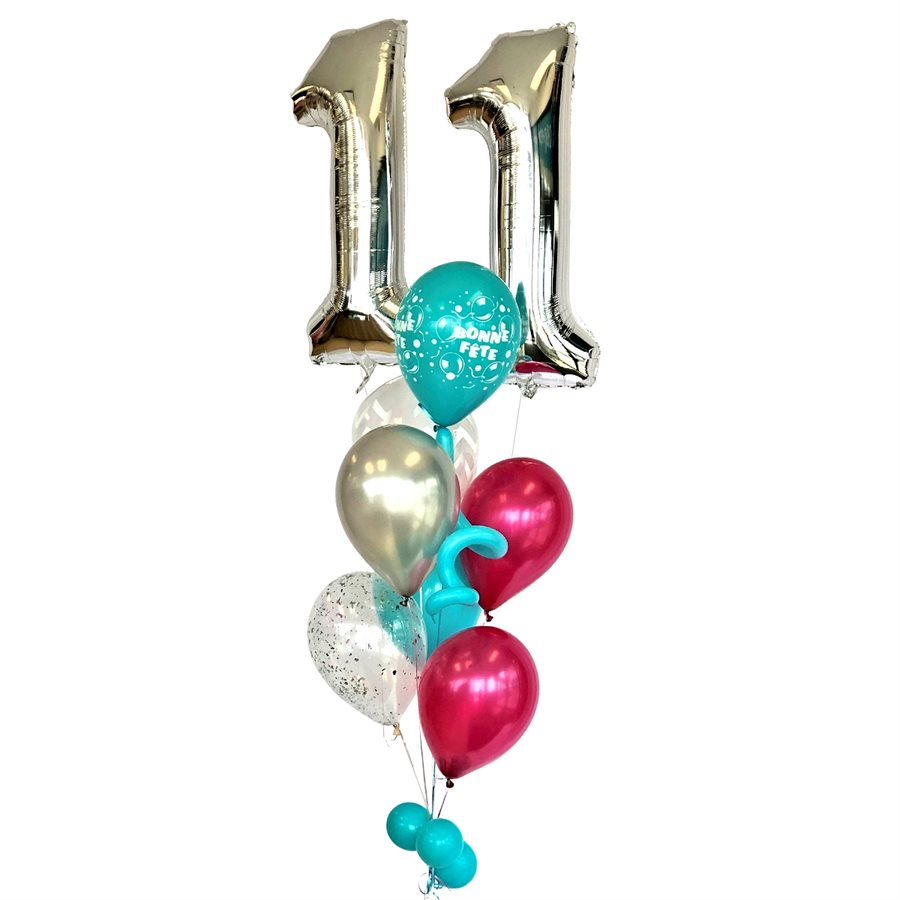 BALLOONS ARRANGEMENT - AGE WITH BUNCH TEAL & PINK
