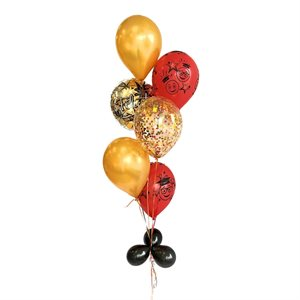 BALLOONS ARRANGEMENT - GRADUATION RED & GOLD WITH CONFETTIS