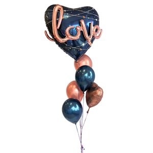 BALLOONS ARRANGEMENT - LOVE NAVY HEART WITH ROSEGOLD