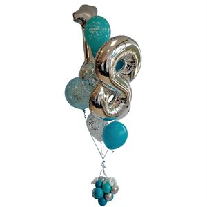 BALLOONS ARRANGEMENT - AGE 18TH BLUE & SILVER W BALLOONS BAS