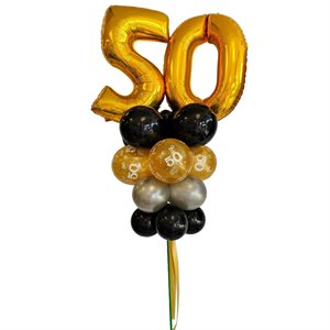 YARD BALLOONS ARRANGEMENT - 50 YRS OLD 26 IN. GOLD & BLACK