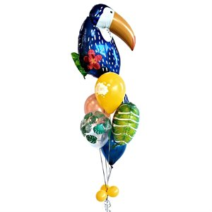 BALLOONS ARRANGEMENT - TOUCAN & TROPICAL FLOWER WITH AGE