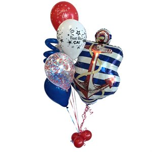 BALLOONS ARRANGEMENT - NAUTICAL WITH CONFETTIS RED & BLUE