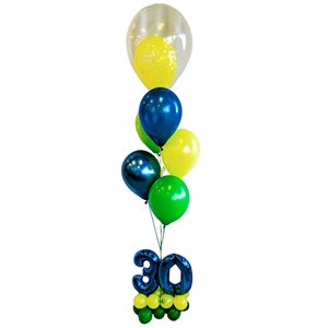 BALLOONS ARRANGEMENT - 30 YRS OLD BASE WITH DOUBLE BUBBLE