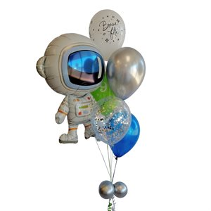 BALLOONS ARRANGEMENT - ASTRONAUT WITH CONFETTIS 9 YRS OLD