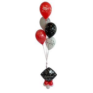 BALLOONS ARRANGEMENT - BONNE FÊTE ON 18 IN. FOIL BASE